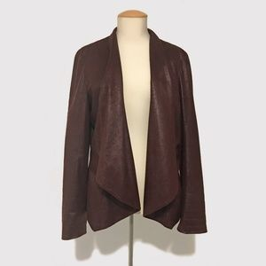 Waterfall Jacket with Foiled Suede Look